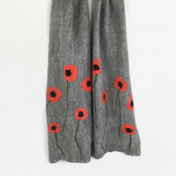Grey merino wool felt scarf with silk poppy design