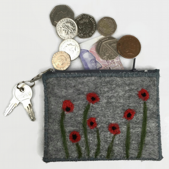 Coin purse, poppy design, grey felt with integral keyring and external pocket