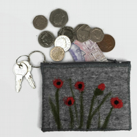 Coin purse, grey felt with poppy design and integral keyring and external pocket