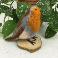 British garden birds, needle felted robin redbreast