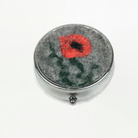 Circular Pill box, trinket box, with poppy design