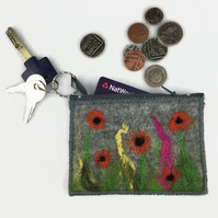 Grey poppy coin purse, hand felted with integral keyring