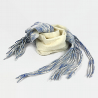 White merino wool felted scarf with blue speckled long tassels