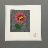 Hand felted pink flower card, note let