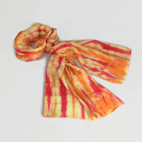 Silk scarf, womens fashion scarf, hand dyed silk crepe de chine,  striped