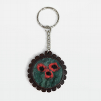 Poppy keyring, wooden fob with felted poppies
