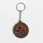 Wooden key fob with felted poppy picture