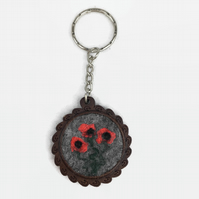 Pretty poppy keyring, felted poppies on a wooden base