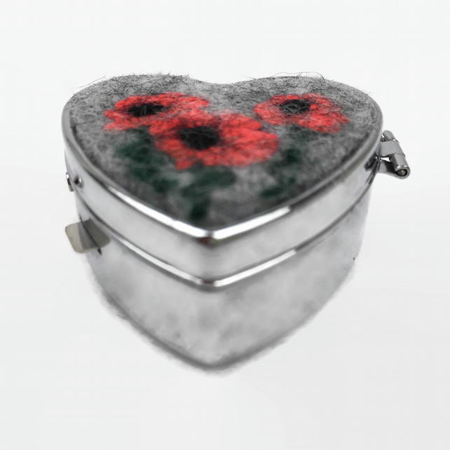Heart shaped pill box with felted poppy insert on lid