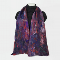 Merino wool felted scarf in shades of purple, blue and red