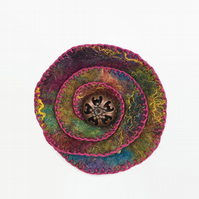 Multicoloured felt flower brooch or corsage