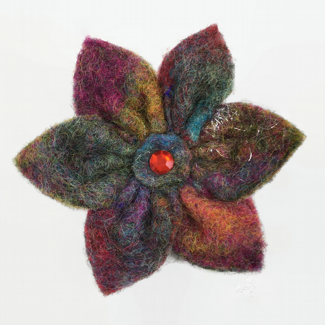 Multicoloured felt flower brooch