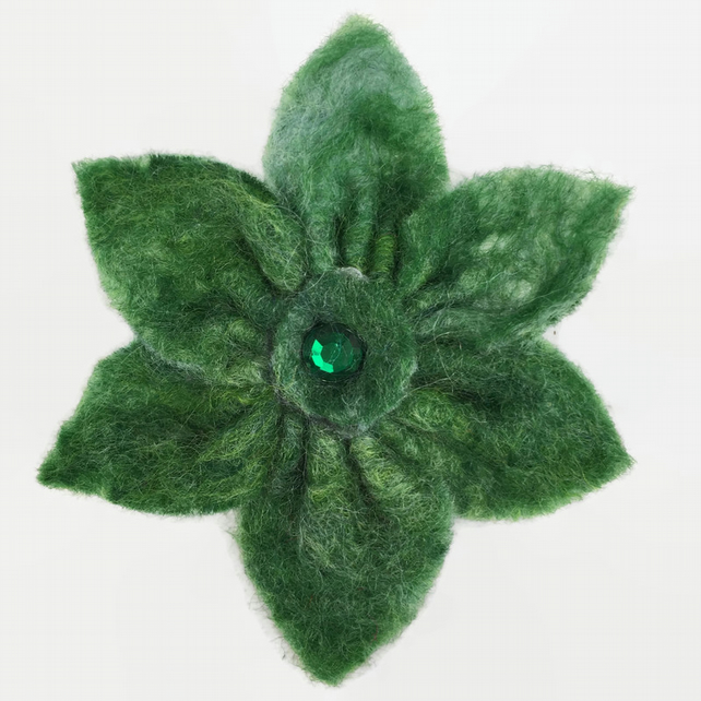 Felt flower brooch in shades of green