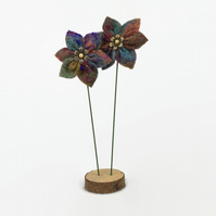 Felted flower decoration, 2 blooms on wooden base