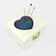 Craft, sewing box with heart shaped pin cushion