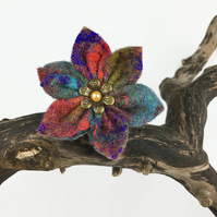 Multicoloured felt flower brooch with pearl centre