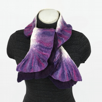 Narrow double ruffle nuno felted scarf in purple, shorter length
