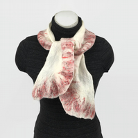 Merino wool nuno felted scarf with red border