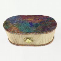 Craft, sewing or trinket box with multicoloured felt and integral pin cushion