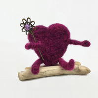 Bright pink needle felted heart hug