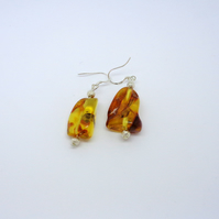 Genuine Baltic Amber drop earrings with sterling silver