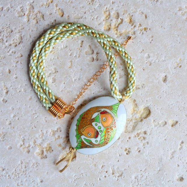 Pisces Kumihimo necklace & enamel pendant