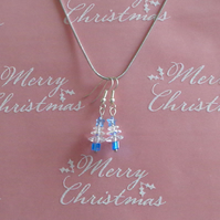 "Christmas Tree Swarovski crystal with star Earrings ""Blue"""