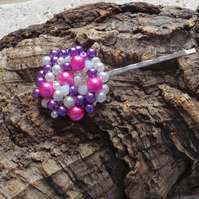Hair pin. Pink & purple glass pearls