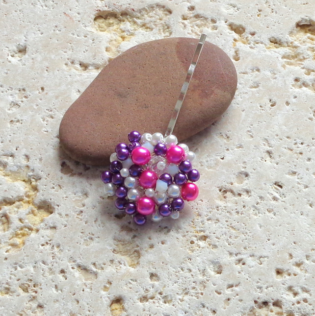 Hair pin in pink & purple glass pearls and crystals