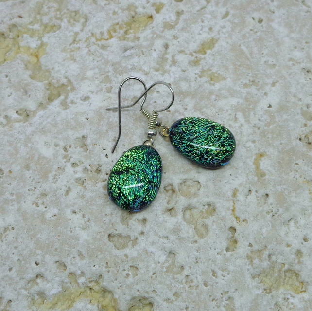 Dichroic glass sparkly yellow green earrings