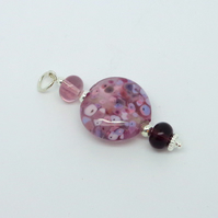 Lilac splash lampwork glass bead pendant