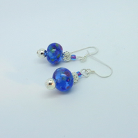 Deep blue lampwork glass & sterling silver earrings