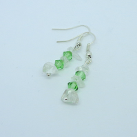 Peridot Swarovski crystal & natural crystal drop earrings