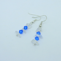 Sapphire Swarovski crystal & natural crystal drop earrings