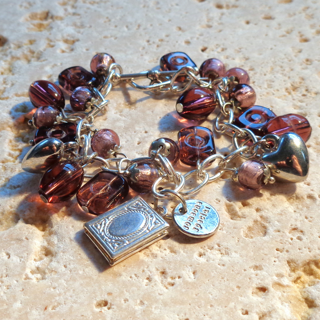 "Charm bracelet ""Someone Special"" with pink glass beads, hearts & locket"