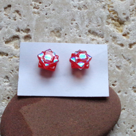 Dichroic fused glass red sparkle earrings