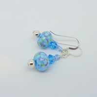 Lampwork turquoise glass bead & Swarovski crystal earrings