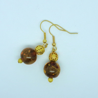 Golden brown lampwork bead earrings
