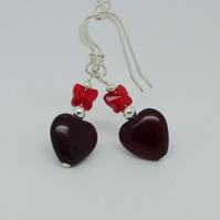 Red heart & crystal butterfly earrings