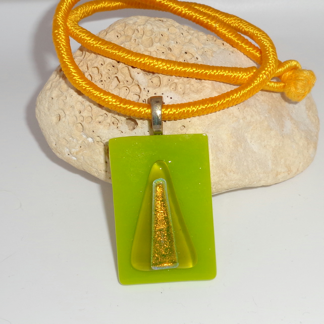 "Dichroic fused glass pendant ""Two Golden Triangles"""