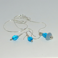 Sea glass & crystal pendant with crystal earrings set