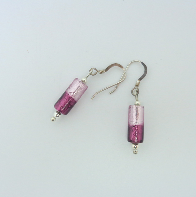 Purple & lilac folied glass bead earrings with sterling silver