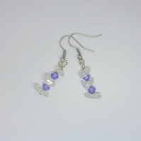 Tanzanite Swarovski crystal & natural crystal drop earrings