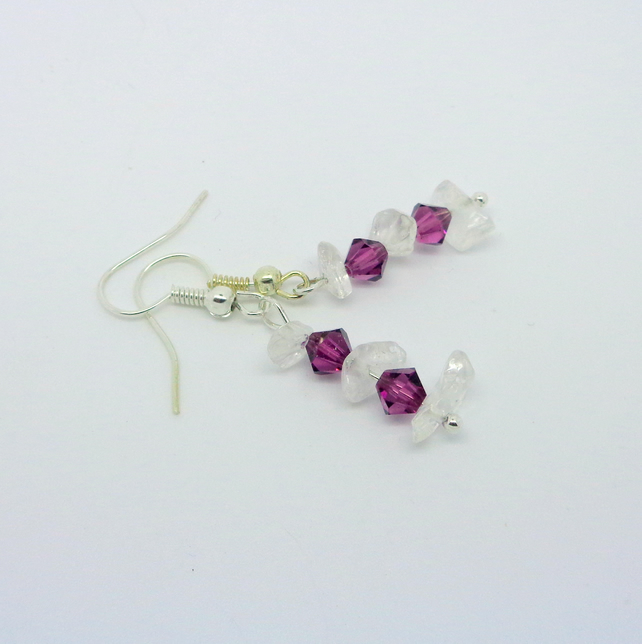 Amethyst Swarovskic crystal & natural crystal drop earrings
