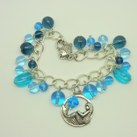 Charm bracelet with mermaid & fish