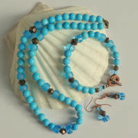 Turquoise howlite bead & copper set