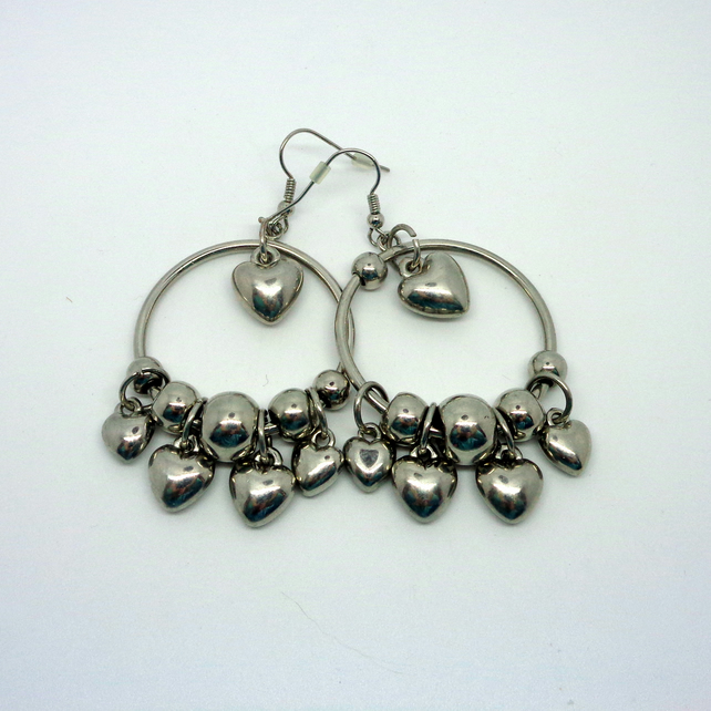 Silver heart & hoop chandelier earrings