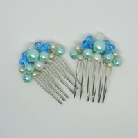 Hair combs in turquoise, cream & white crystals & glass pearls