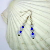 Blue lace agate & glass bead drop earrings