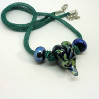 Lampwork glass blue green heart necklace